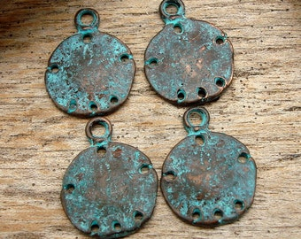 SAND DOLLARS - (4) Greek Copper and Patina Sand Dollars