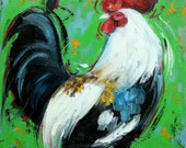 Rooster 829 12x12 inch animal portrait original oil painting by Roz