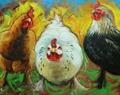 Rooster 809 18x24 inch original animal portrait oil painting by Roz