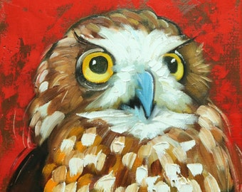 Owl painting 122 12x12 inch original oil painting by Roz