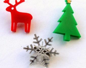 Christmas Mini Brooch Pin Set 1,Christmas Jewelry