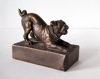 Vintage English Bulldog Statue Copper Overlay Bronze Sculpture Animal Art 1930s Collectible Pet Dog Playful Figurine Home Decor Paperweight