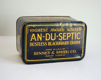 Vintage Binney & Smith Tin Box Early 1900s An-du-Septic Dustless Blackboard Crayon Chalk Gold Medal Advertising Black Storage Container