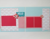 Hello Premade or DIY Kit,12x12 Scrapbook Layout, Scrapbook Page Kit, Project Life, Filofax