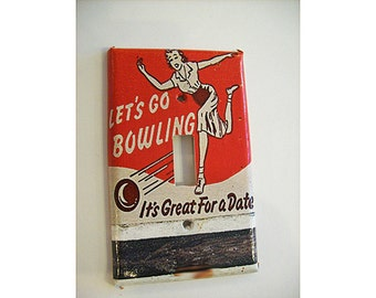 bowling switch plate retro vintage 1950's bowl kitsch light switch rockabilly decor