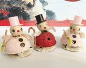 Vintage Bump Chenille and Spun Cotton Little Glitter for Belly Emphasis Christmas Ornaments