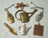 9pc Brass Gardening Charms, Memory Book Embellishment, Brass Stampings, Scrapbooking Charms, Greeting Card Embellishments