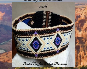 Bead PATTERN Canyon Crest Cuff Bracelet Peyote Brick Stitch