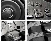 bodybuilding prints, gym print set, black white print set, weightlifting print set, 4 photo set, gallery wall art, wall art set, four prints