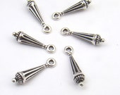 Silver drop charms, long antiqued silverplated Victorian Tierracast 2075, 6 pcs