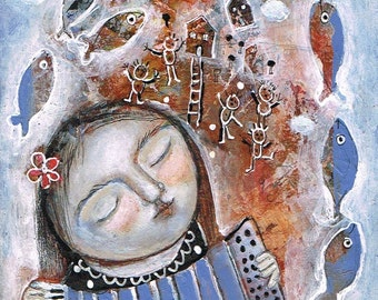 SALE  SPECIAL PRICE!! Free Shipping Mixed media Print art girl accordion houses fish dream music