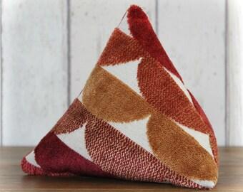 Red, Orange and Cream Geometric Pyramid Triangular Fabric Door Stop