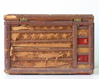 Vintage American Flag Trunk, Folk Art, Tramp Art