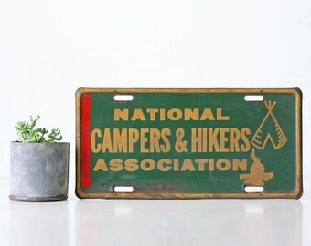 Vintage Campers & Hikers License Plate Sign