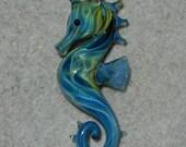 Lampwork Boro Glass Pendant - Focal Bead - SEAHORSE turquoise aqua