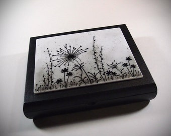 Dandelion Wishes Keepsake Memory Box ~ Wedding Box ~ Home Decor ~ Trinket Jewelry Box ~ Fused Glass and Wood