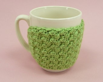 CUP MUG COZY Crochet Pistachio Green Coffee Tea Hot Cocoa Chocolate Cover Sleeve Insulate Gift for Teacher Friend Clasp Closure Beautiful