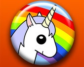 Unicorn - 2.25 Inch Large Button / Magnet / Bottle Opener / Pocket Mirror / Keychain - Sick On Sin