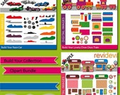 60% OFF SALE Build Your Collection Clipart Bundle MGB140 - Diy race cars, choo choo trains, candy shop