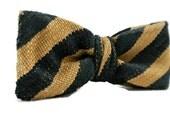 Mens Accessories , Navy and Tan Stripe Bow Tie , Mens Neckwear , Mens Bow Tie , Pre-tied Bowtie , Clip-On Bowtie , Adjustable Bowtie