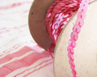 Pink for Miles...Vintage Unused Sequin Trim...New Old Stock
