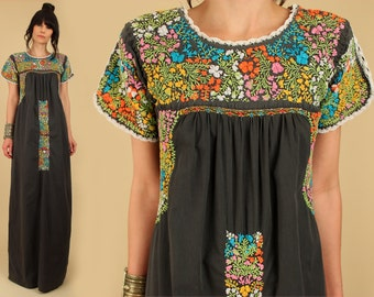 ViNtAgE 70s Floral Embroidered Mexican Maxi Dress // Black Cotton Rainbow // Artisan Handmade Hippie BoHo Rainbow Floral Wedding