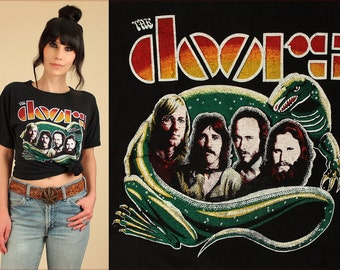 The DOORS ViNtAgE T-Shirt 70's RARE Rock Tee Black Lizard King Graphic Large / L