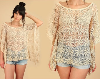 Sheer Crochet Tunic Angel Wing Caftan Top Vintage Pinwheel Crochet Bohemian 60's 70's Boho Hippie Small Medium S M