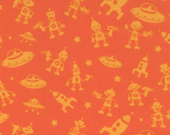 Michael Miller fabric...Bot Camp Robots Fabric.  1 yard you pick sage or orange. 1 YARD cotton