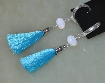 Blue Earrings, Silver Hoop Earrings, Tassel Earrings, Sterling Silver, Argentium Silver, Opalite Earrings, Dangle Earrings