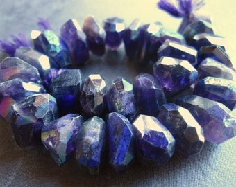 Mystic Organic large Chunky Nuggets of Amethyst - faceted fancy unusual cut - 4 inches - 14mm X 6mm