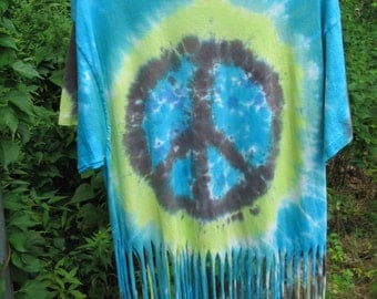 Tie Dyed Peace Sign T Shirt Fringed With Turquoise and Aqua Marine Ocean Colors Bohemian Chic Summer Wear for Hot Days
