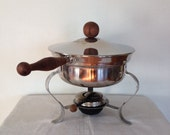 Vintage Mid Century Chafing Dish,  Stainless Steel and Teak Chafing Dish,  Holiday entertaining, Mid Century Partyware