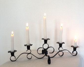 SALE, Vintage Cast Iron Candelabra,  Black Metal 5 arm  Candleholder