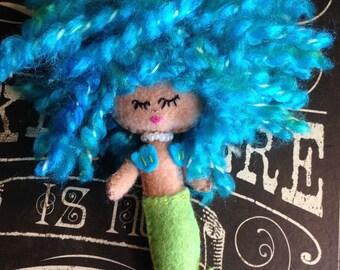 Mermaid Art Doll Blythe Friend OOAK Art Doll Sleepy Mermaid Whimsical Cute Blue Aqua Green Crazy Hair