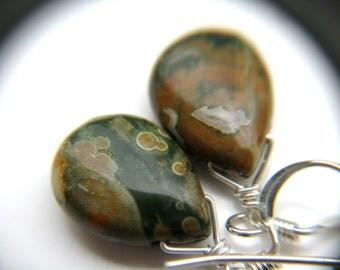 Dark Green Earrings . Natural Gemstone Earrings Drop . Earthy Jewelry . Rhyolite Earrings . Simple Earrings .Earthy Jewelry - Boa Collection