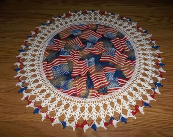 Crocheted Doily Lace Patriotic 4th of July Memorial Day Flags Fireworks Fabric Center Crocheted Edge Doilies Table Topper Gift Handmade