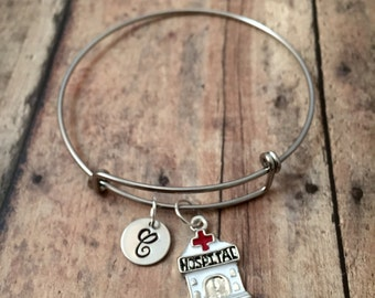 Hospital initial bangle - hospital jewelry, medical jewelry, silver hospital bangle, physician jewelry, nurse bangle, gift for nurse