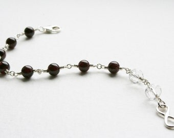 Garnet Crystal and Sterling Silver Infinity Charm Bracelet