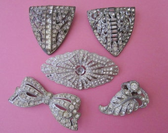 Jewelry DeStash Deco Rhinestone Clips and Brooches for recycling/repair