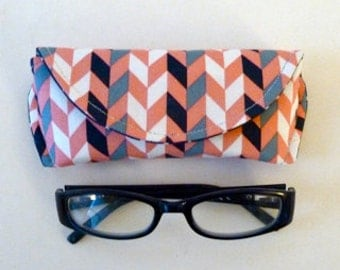 Coral and Navy - Chevron - Eyeglass Case - Sunglass Case - Magnetic Clasp - Gift for Readers - Gifts under 15
