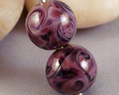 Violet Purple Raspberry Grape Swirls Pair of Round Lampwork Glass Beads for Jewelry by Solaris Beads 2434