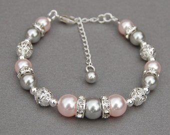 Pink and Gray Pearl Bracelet, Pastel Wedding Jewelry, Bridesmaid Jewelry, Spring Wedding, Pink Silver Wedding