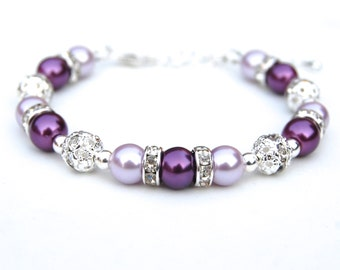 Purple and Lavender Pearl Rhinestone Bracelet, Bridesmaid Jewelry, Purple Wedding, Purple Bridesmaids, Bridesmaid Gifts, Bridal Party