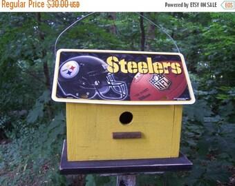 SUMMER SALE Pittsburgh Steelers Vanity Plate  Football  Birdhouse Fully Functional