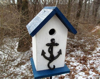 Birdhouse Metal Anchor Hook Primitive Navy Sea Captain