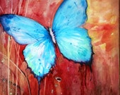 Blue butterfly on red background original watercolor painting