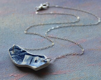 Sterling Silver Broken Plate Necklace- Aurelia