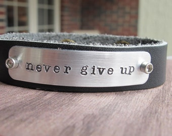 Never Give Up Leather Cuff Bracelet Black Leather Cuff Bracelet Personalized Hand Stamped