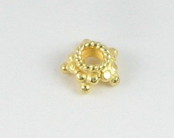 8mm Bali Gold Vermeil 24k over Sterling Silver Dotted Star Bead Caps, Beadcaps, Jewelry Making Supplies, Jewelry Findings (10 beads)